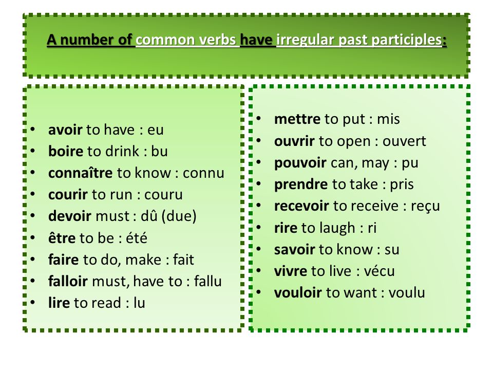 A number of common verbs have irregular past participles: