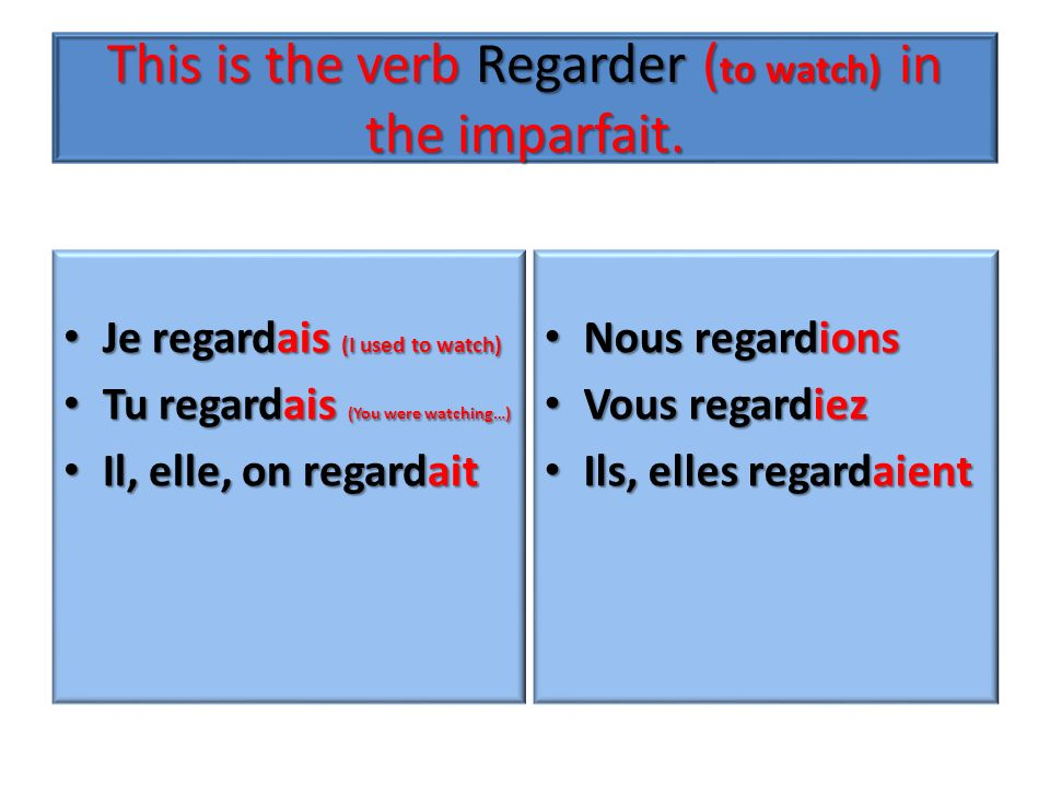This is the verb Regarder (to watch) in the imparfait.
