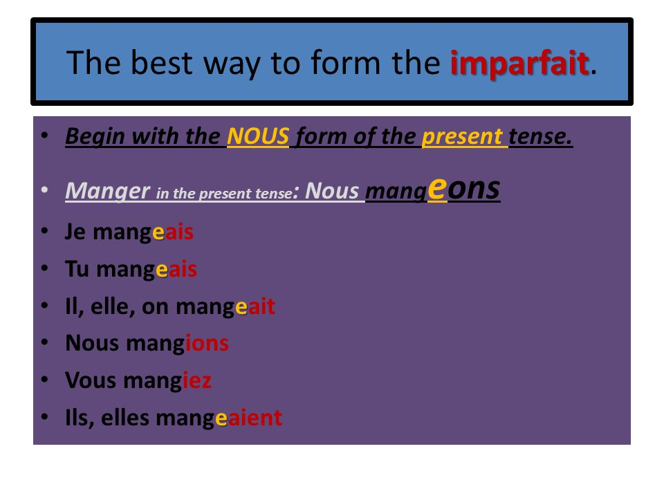 The best way to form the imparfait.