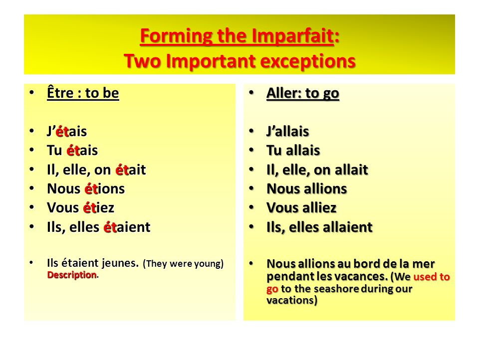 Forming the Imparfait: Two Important exceptions