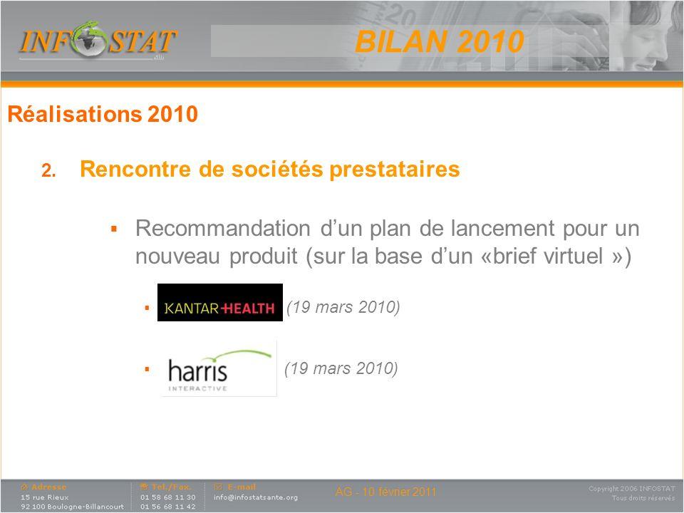 BILAN 2010 Réalisations 2010 Rencontre de sociétés prestataires