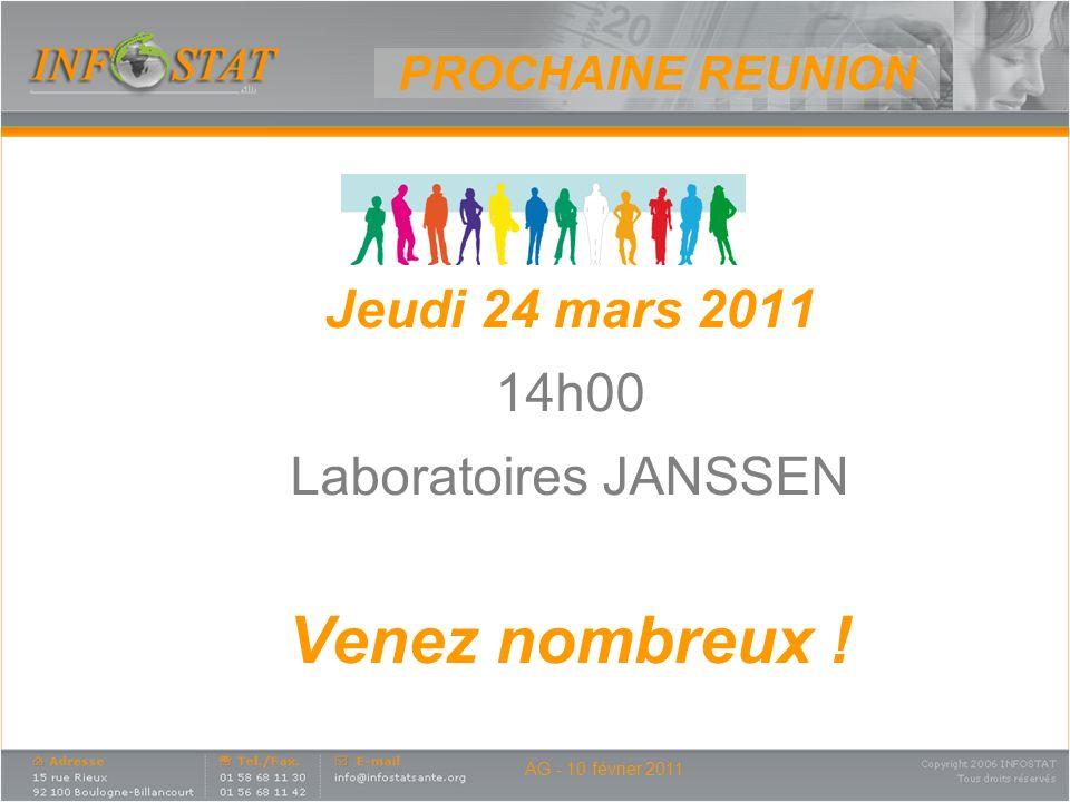 Venez nombreux ! Jeudi 24 mars 2011 14h00 Laboratoires JANSSEN