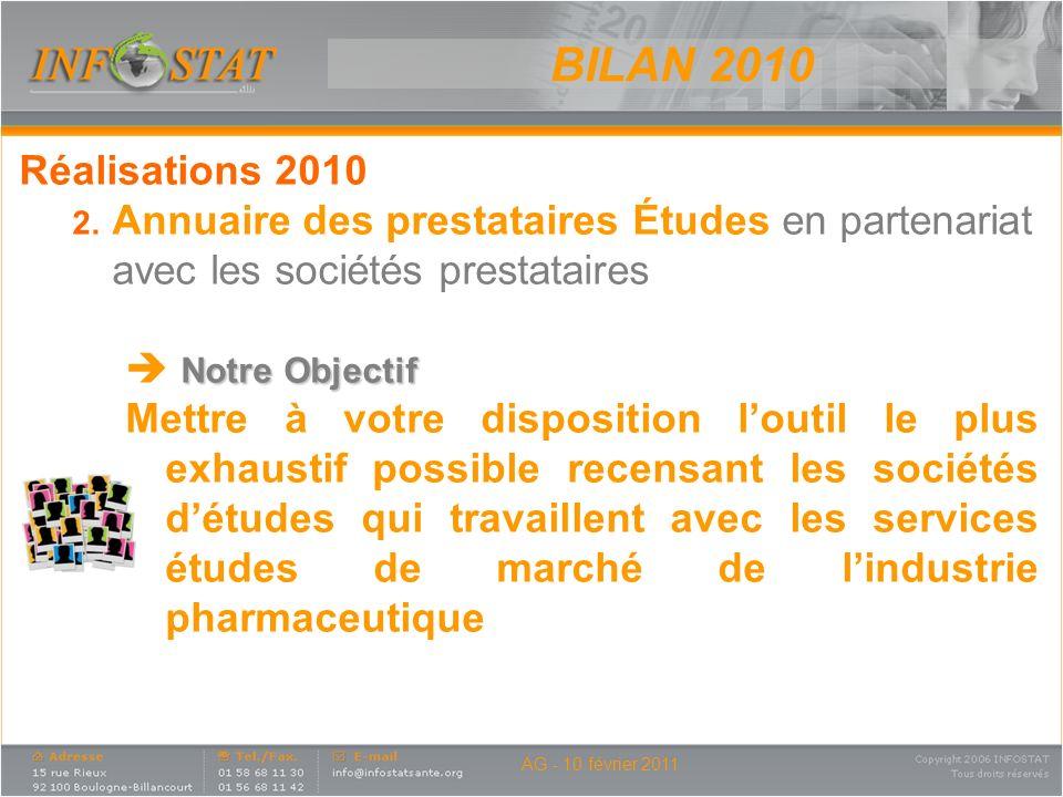 BILAN 2010 Réalisations 2010. Annuaire des prestataires Études en partenariat avec les sociétés prestataires.