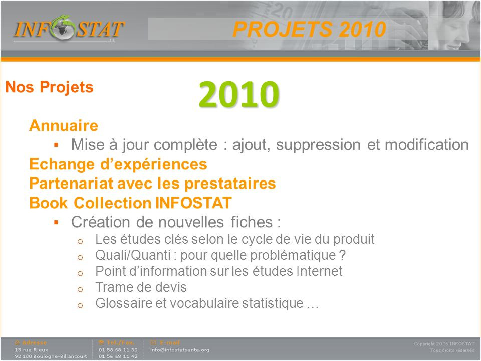 2010 PROJETS 2010 Nos Projets Annuaire