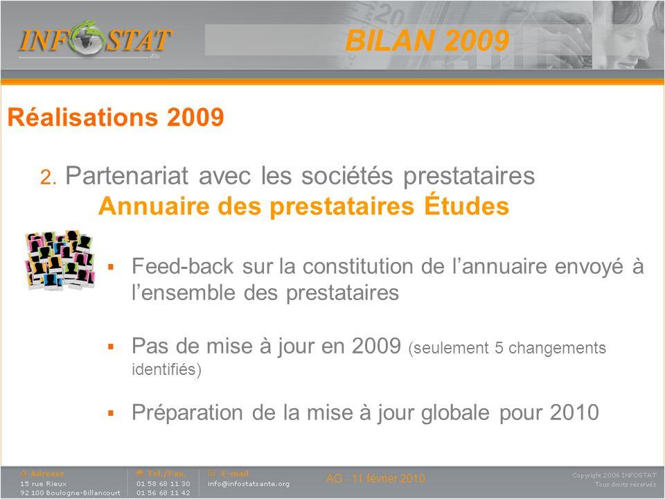 BILAN 2009 Réalisations 2009. Partenariat avec les sociétés prestataires. Annuaire des prestataires Études.