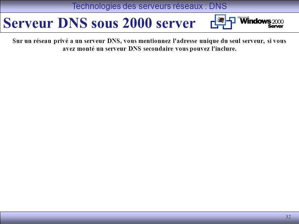 Serveur DNS sous 2000 server
