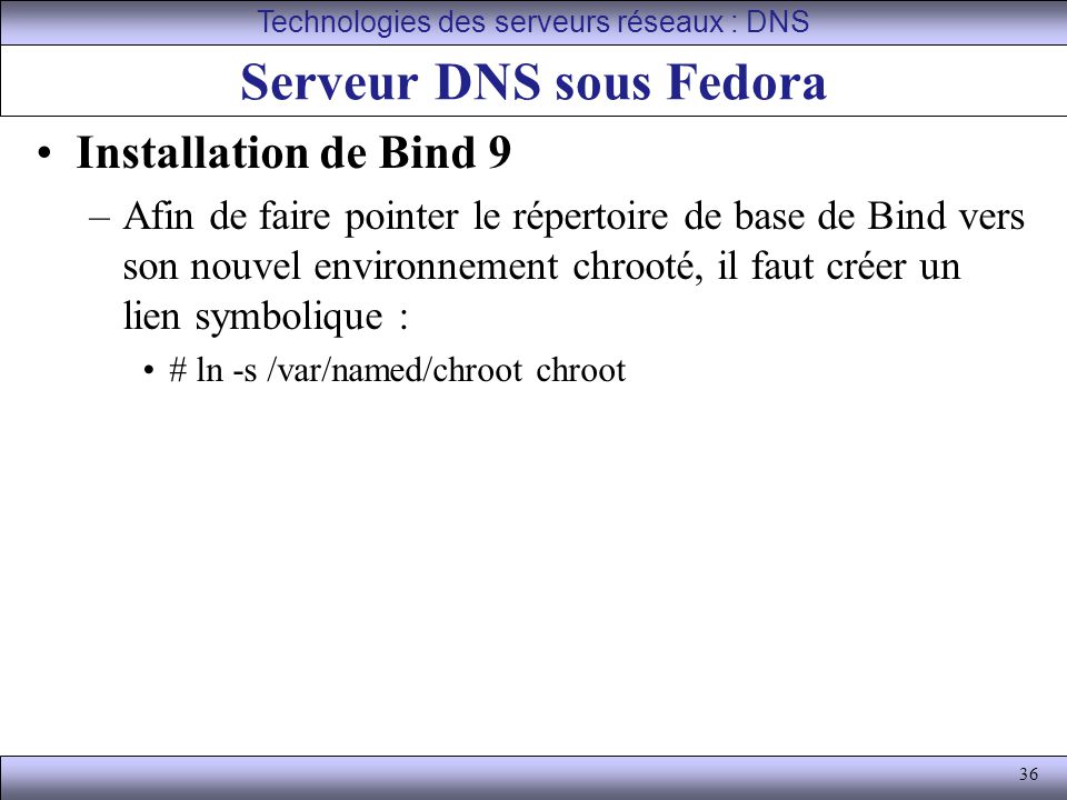 Serveur DNS sous Fedora