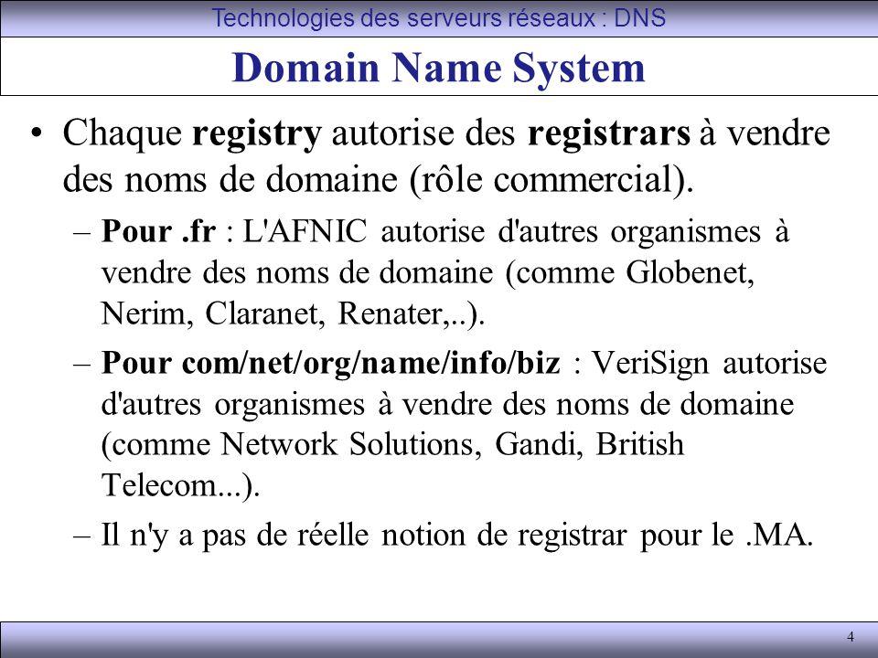 Technologies des serveurs réseaux : DNS
