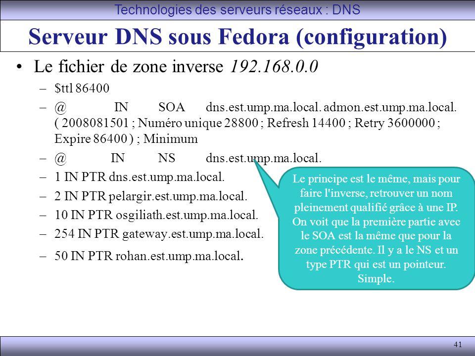 Serveur DNS sous Fedora (configuration)