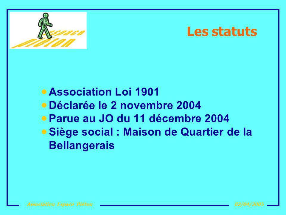 Les statuts Association Loi 1901 Déclarée le 2 novembre 2004
