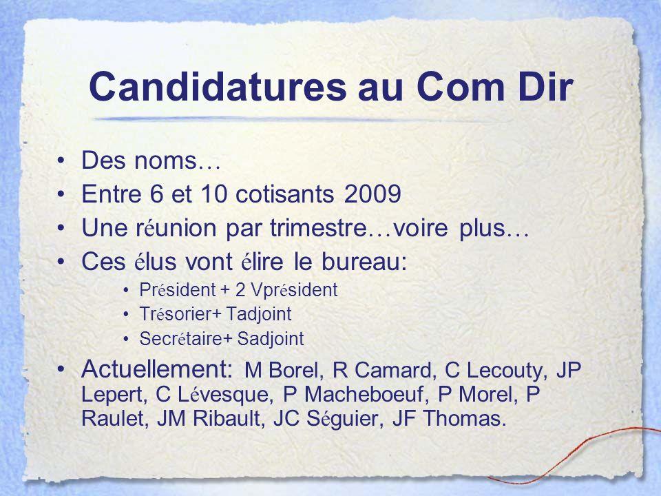 Candidatures au Com Dir