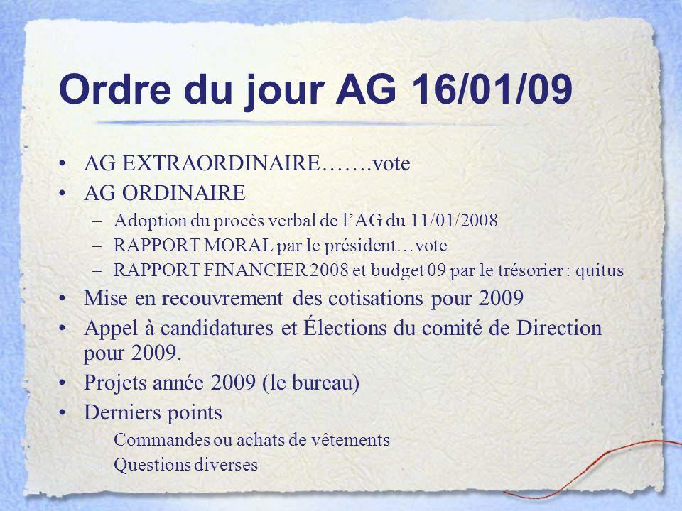 Ordre du jour AG 16/01/09 AG EXTRAORDINAIRE…….vote AG ORDINAIRE
