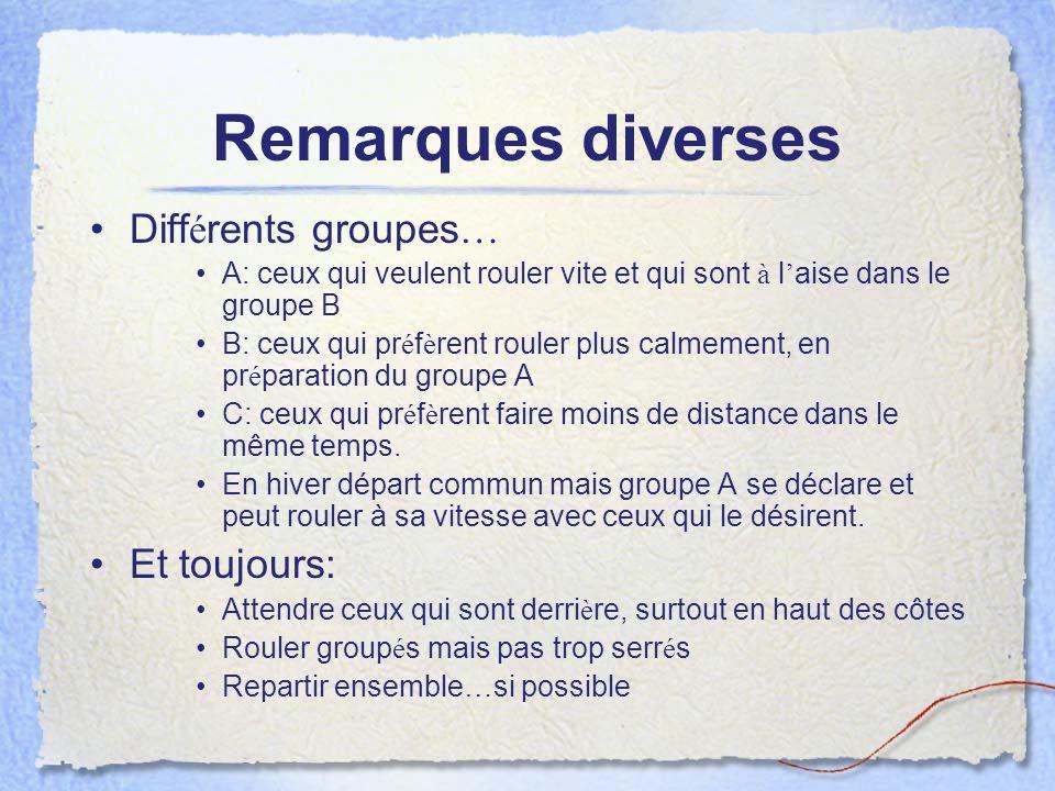 Remarques diverses Différents groupes… Et toujours: