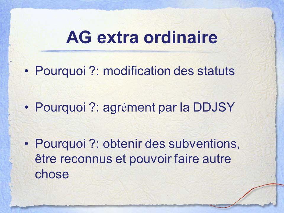 AG extra ordinaire Pourquoi : modification des statuts