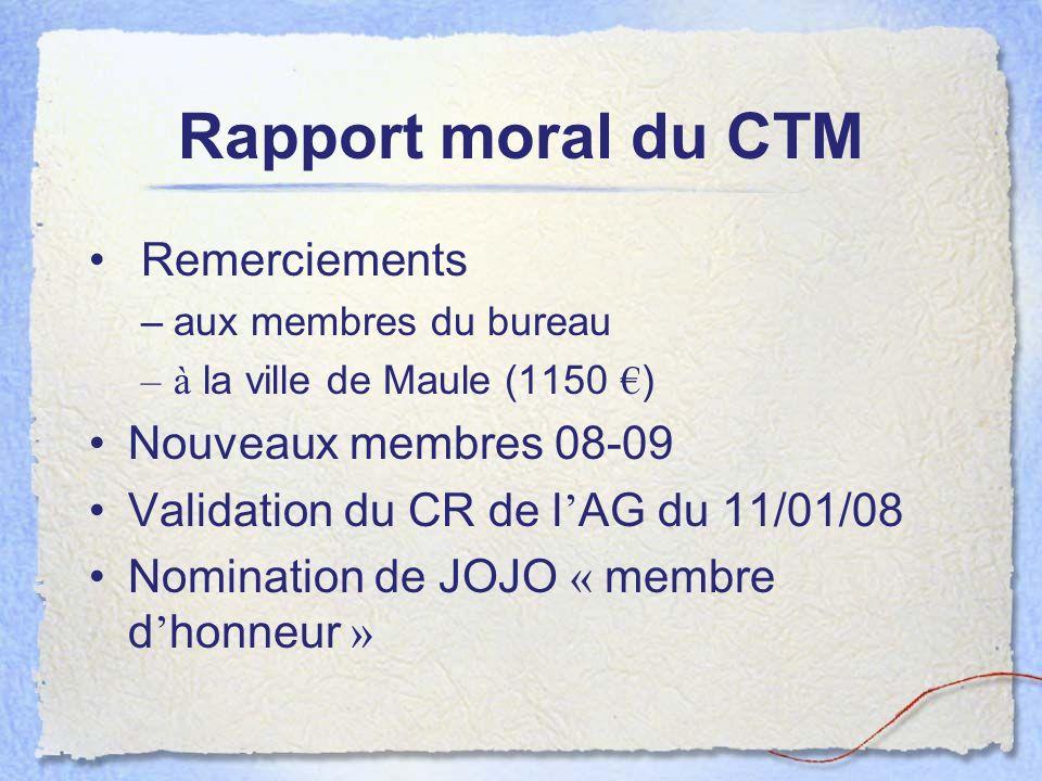 Rapport moral du CTM Remerciements Nouveaux membres 08-09
