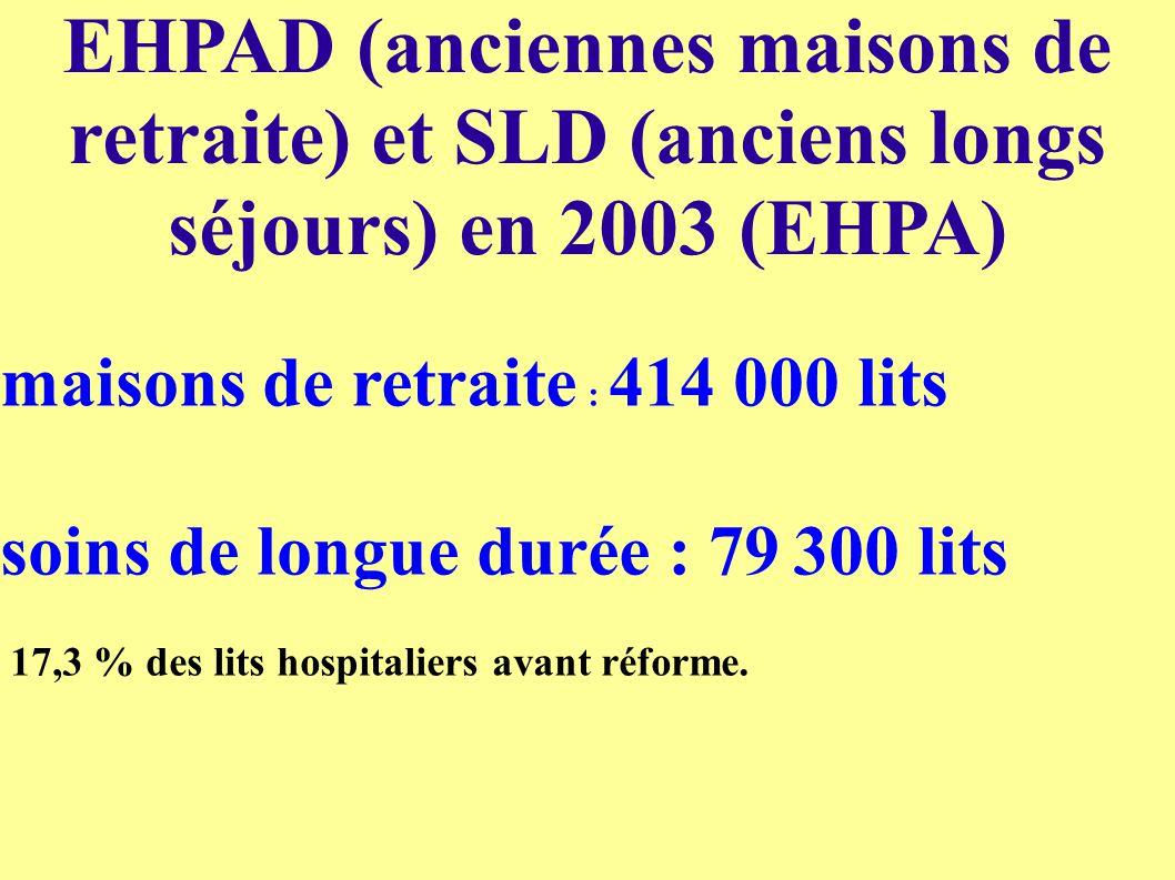 EHPAD (anciennes maisons de retraite) et SLD (anciens longs séjours) en 2003 (EHPA)