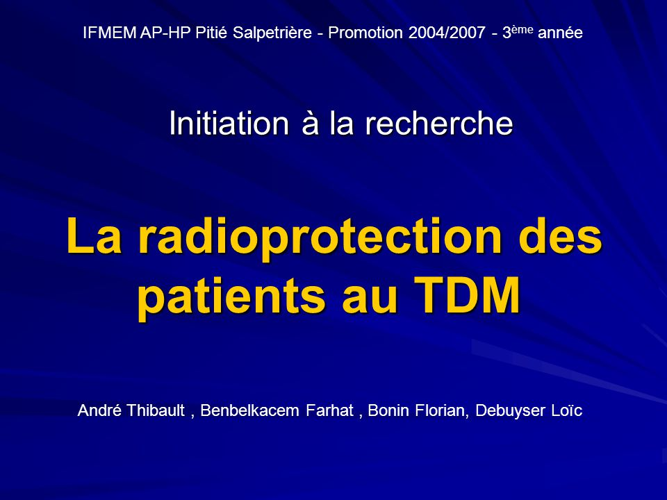 La radioprotection des patients au TDM