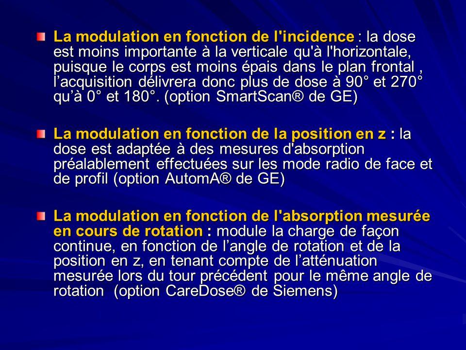 La modulation en fonction de l incidence : la dose est moins importante à la verticale qu à l horizontale, puisque le corps est moins épais dans le plan frontal , l'acquisition délivrera donc plus de dose à 90° et 270° qu'à 0° et 180°. (option SmartScan® de GE)