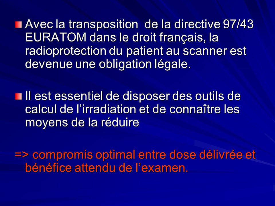 Avec la transposition de la directive 97/43 EURATOM dans le droit français, la radioprotection du patient au scanner est devenue une obligation légale.