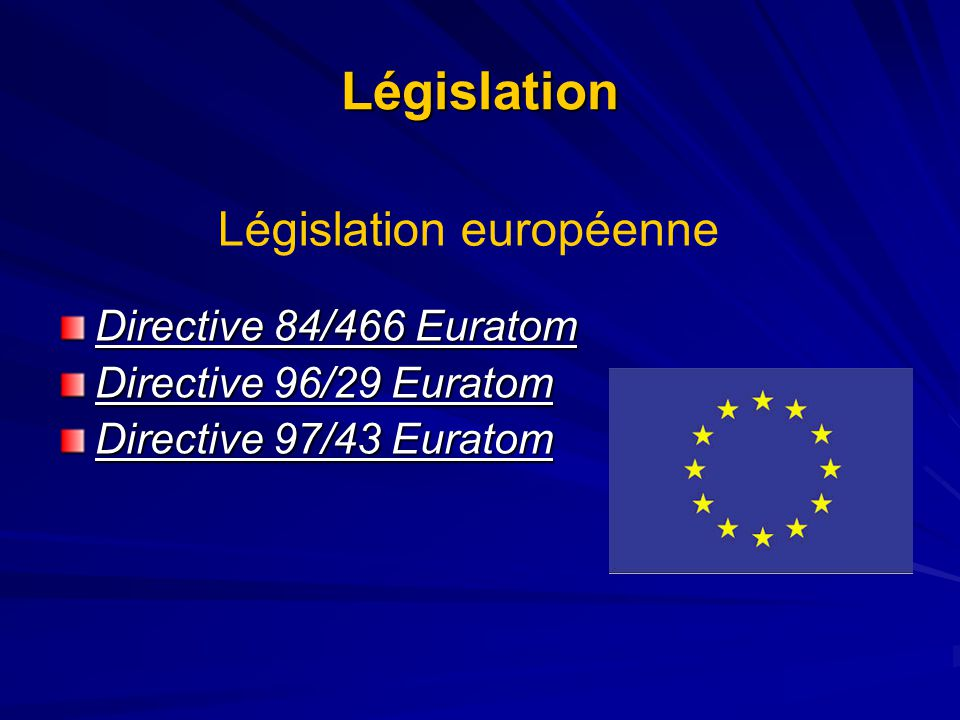 Législation Législation européenne Directive 84/466 Euratom