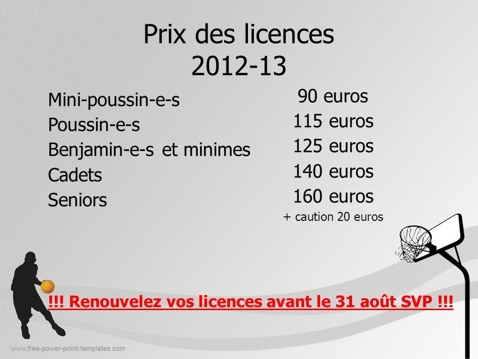 Prix des licences 2012-13 90 euros Mini-poussin-e-s 115 euros
