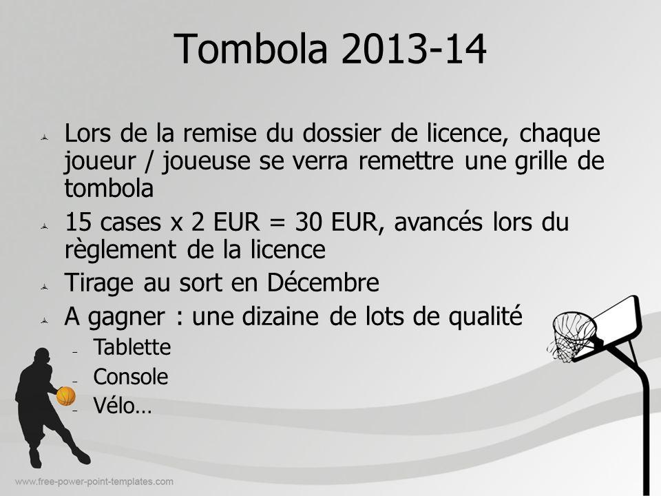 Tombola 2013-14 Lors de la remise du dossier de licence, chaque joueur / joueuse se verra remettre une grille de tombola.