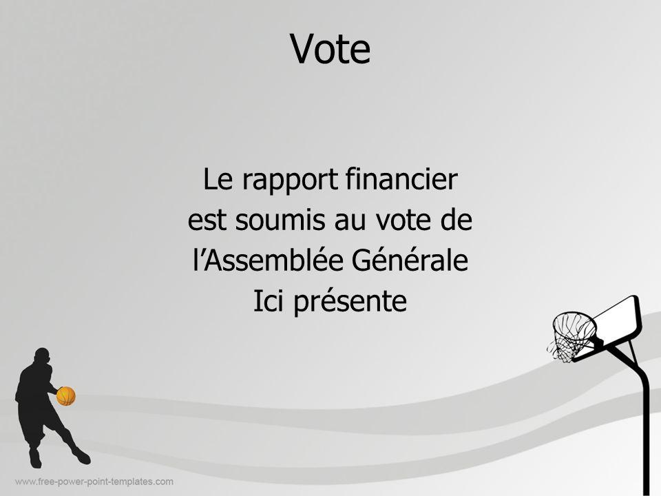 Vote Le rapport financier est soumis au vote de l'Assemblée Générale