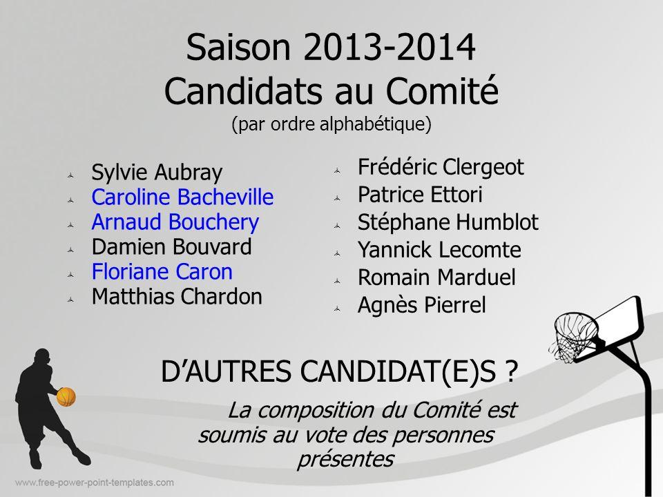 Saison 2013-2014 Candidats au Comité (par ordre alphabétique)