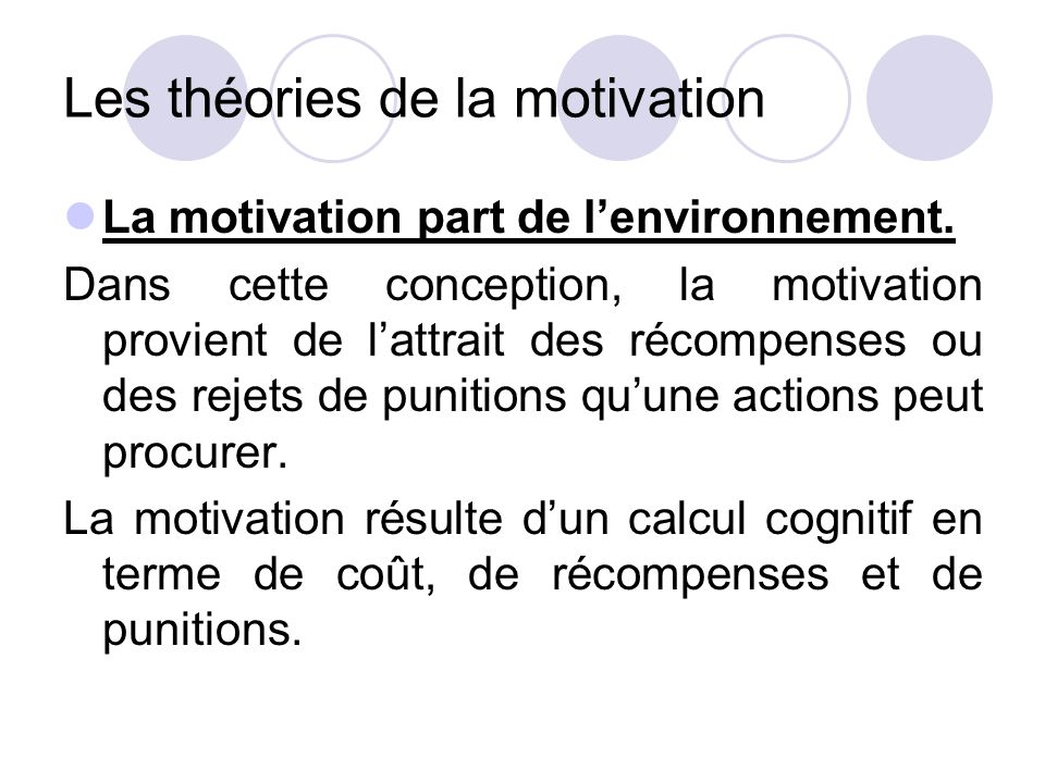 Les théories de la motivation
