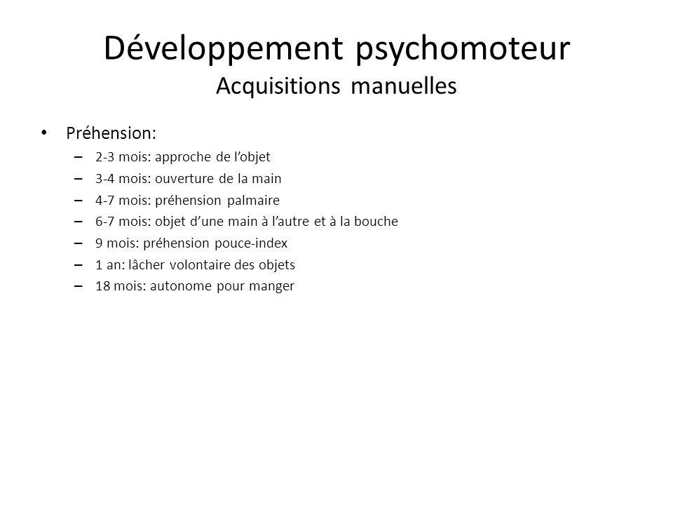 Développement psychomoteur Acquisitions manuelles
