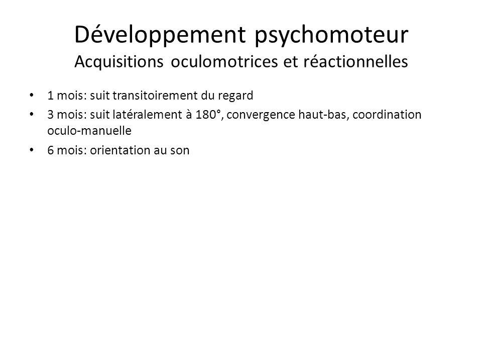 Développement psychomoteur Acquisitions oculomotrices et réactionnelles