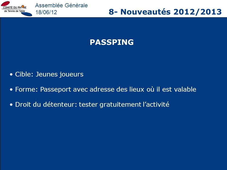8- Nouveautés 2012/2013 PASSPING Cible: Jeunes joueurs