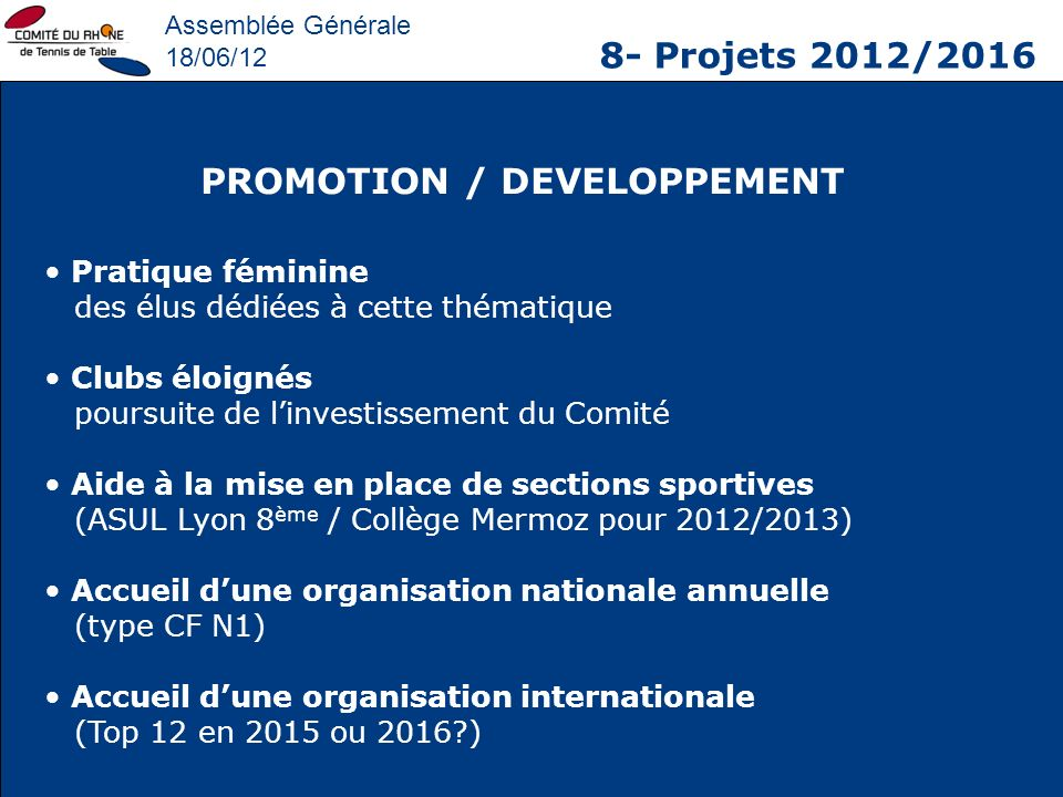 PROMOTION / DEVELOPPEMENT