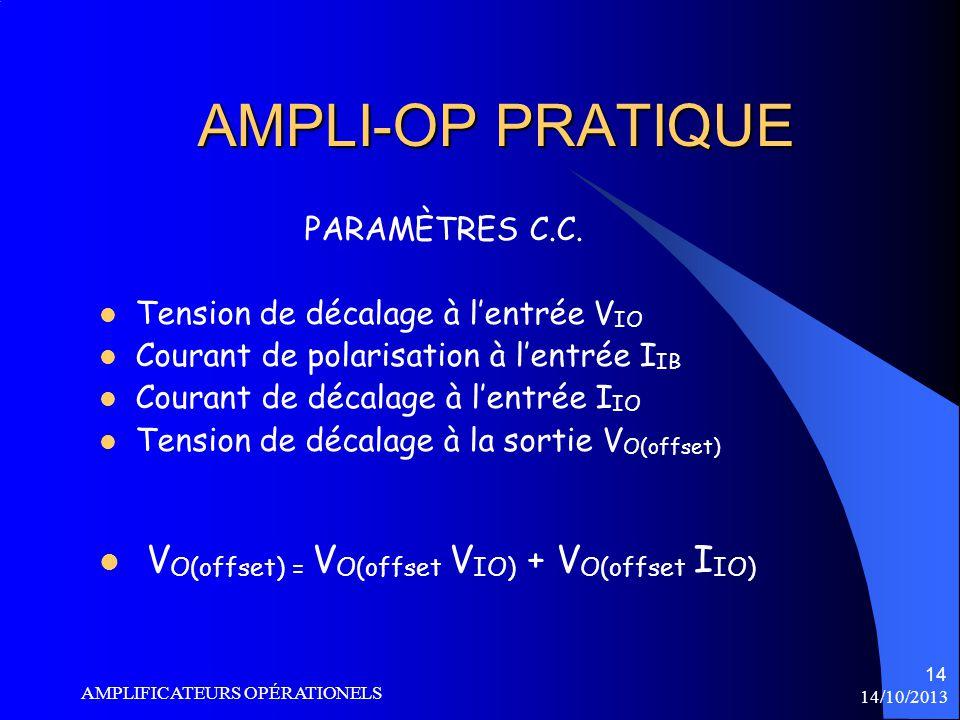 AMPLI-OP PRATIQUE VO(offset) = VO(offset VIO) + VO(offset IIO)