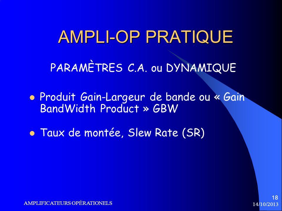 PARAMÈTRES C.A. ou DYNAMIQUE
