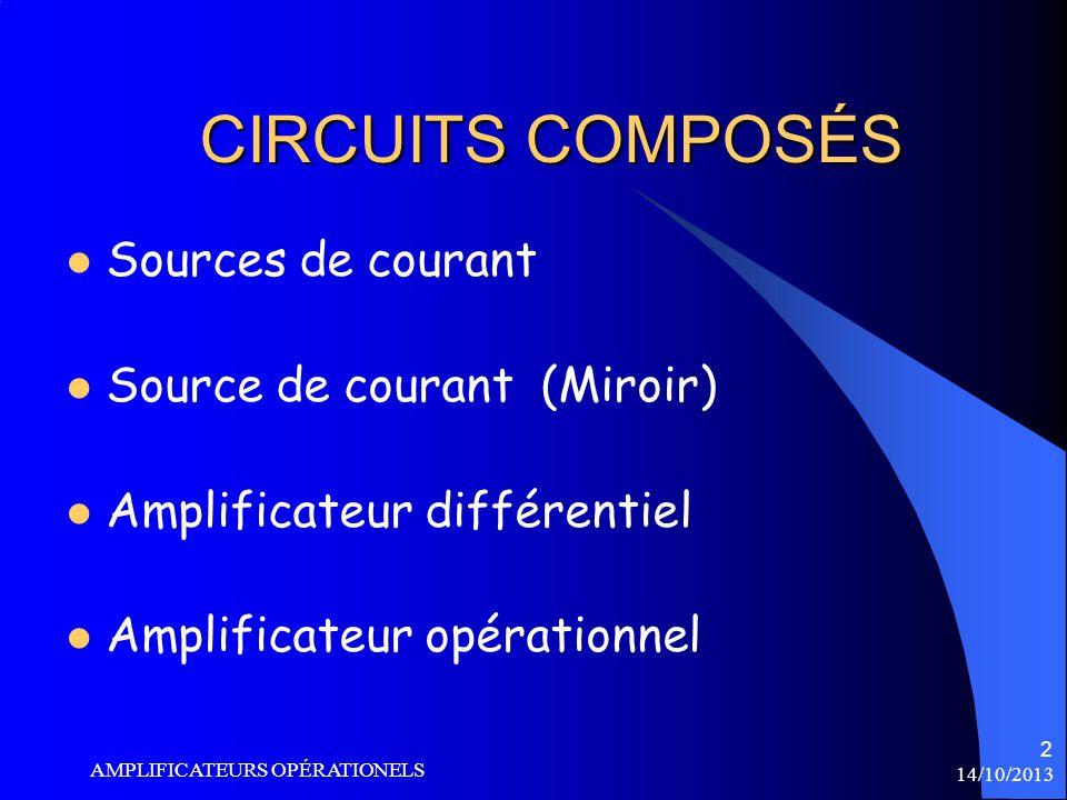 CIRCUITS COMPOSÉS Sources de courant Source de courant (Miroir)