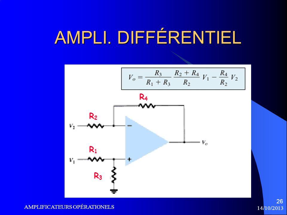 AMPLI. DIFFÉRENTIEL R4 R2 R1 R3 AMPLIFICATEURS OPÉRATIONELS 14/10/2013