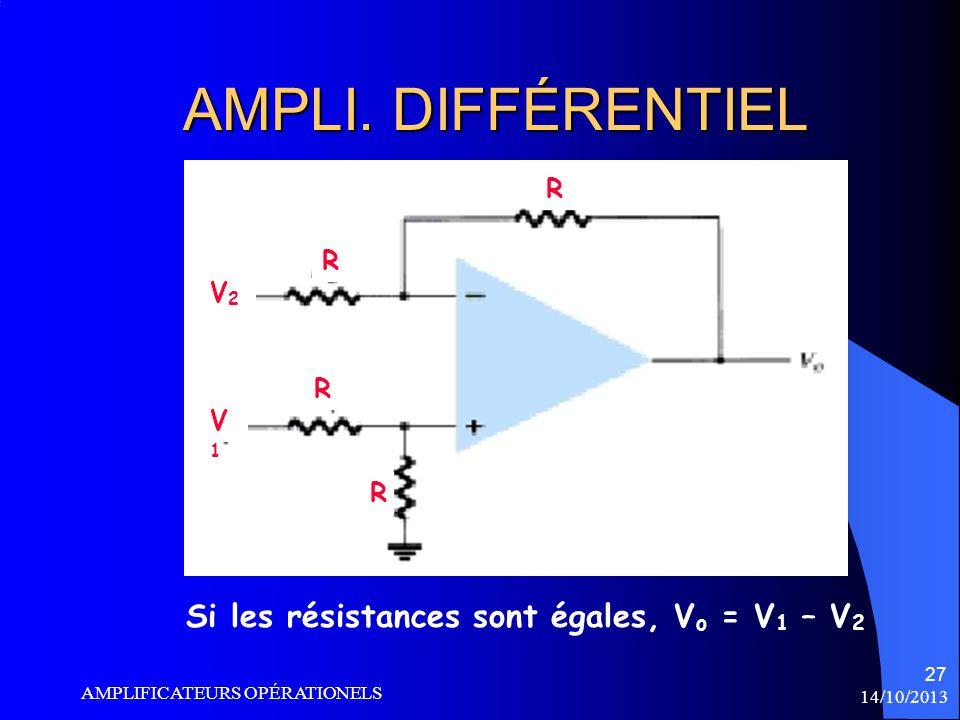 AMPLI. DIFFÉRENTIEL Si les résistances sont égales, Vo = V1 – V2 R V2