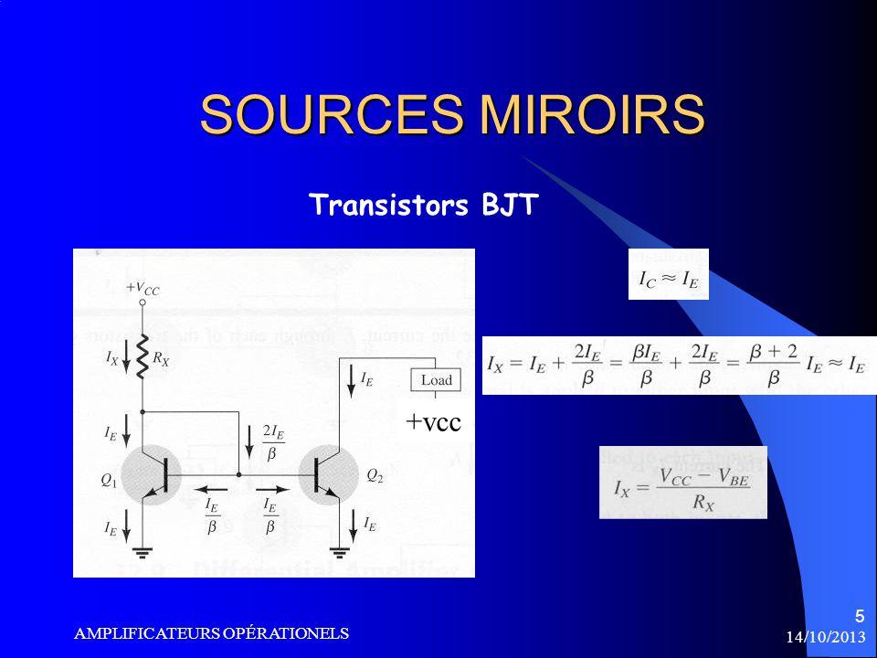 SOURCES MIROIRS Transistors BJT +vcc AMPLIFICATEURS OPÉRATIONELS
