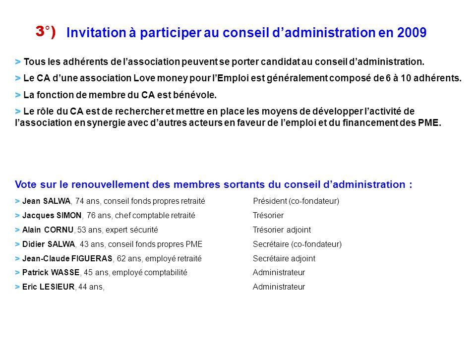 3°) Invitation à participer au conseil d'administration en 2009