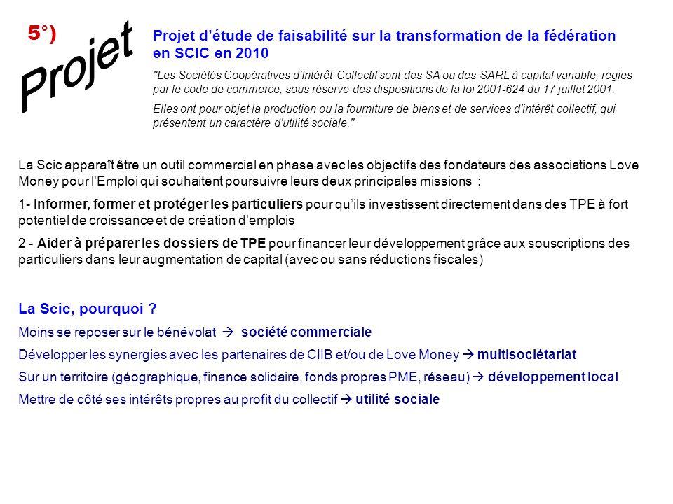 5°) Projet. Projet d'étude de faisabilité sur la transformation de la fédération en SCIC en 2010.