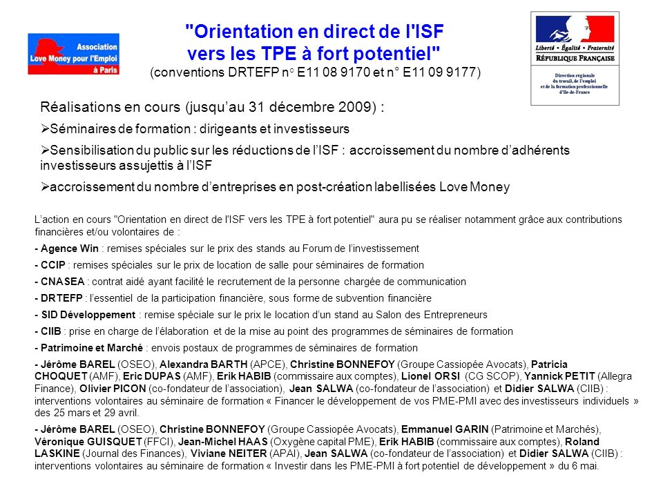 Orientation en direct de l ISF vers les TPE à fort potentiel