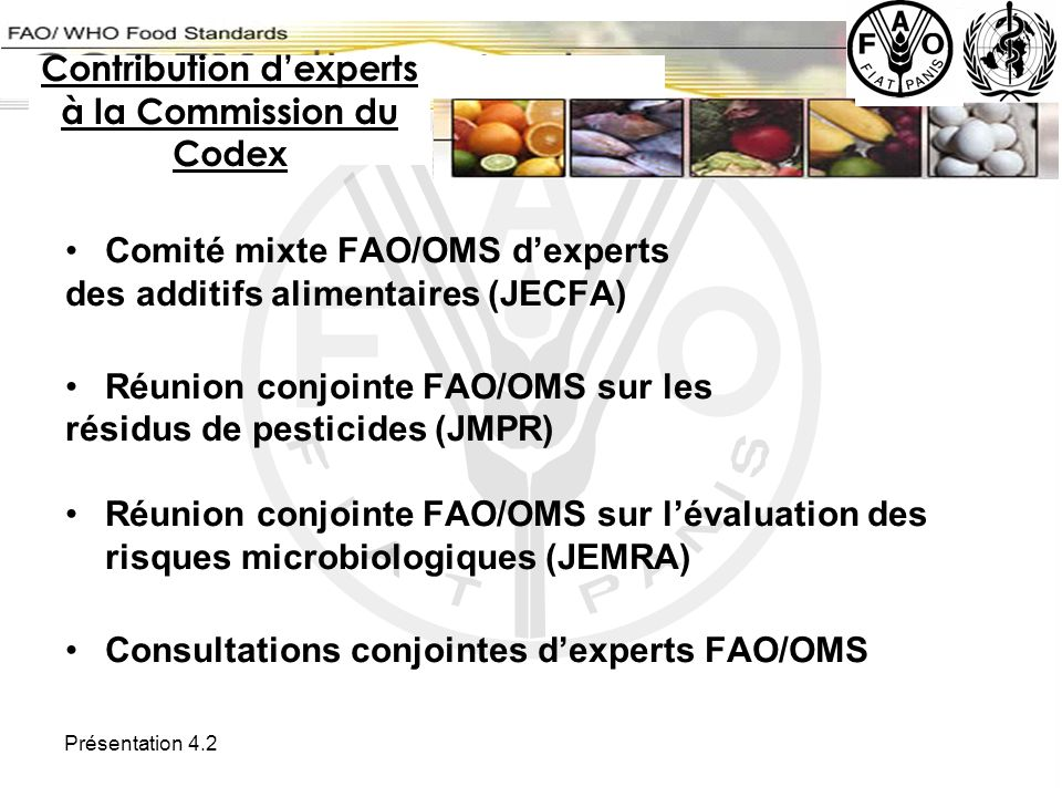 Contribution d'experts à la Commission du Codex