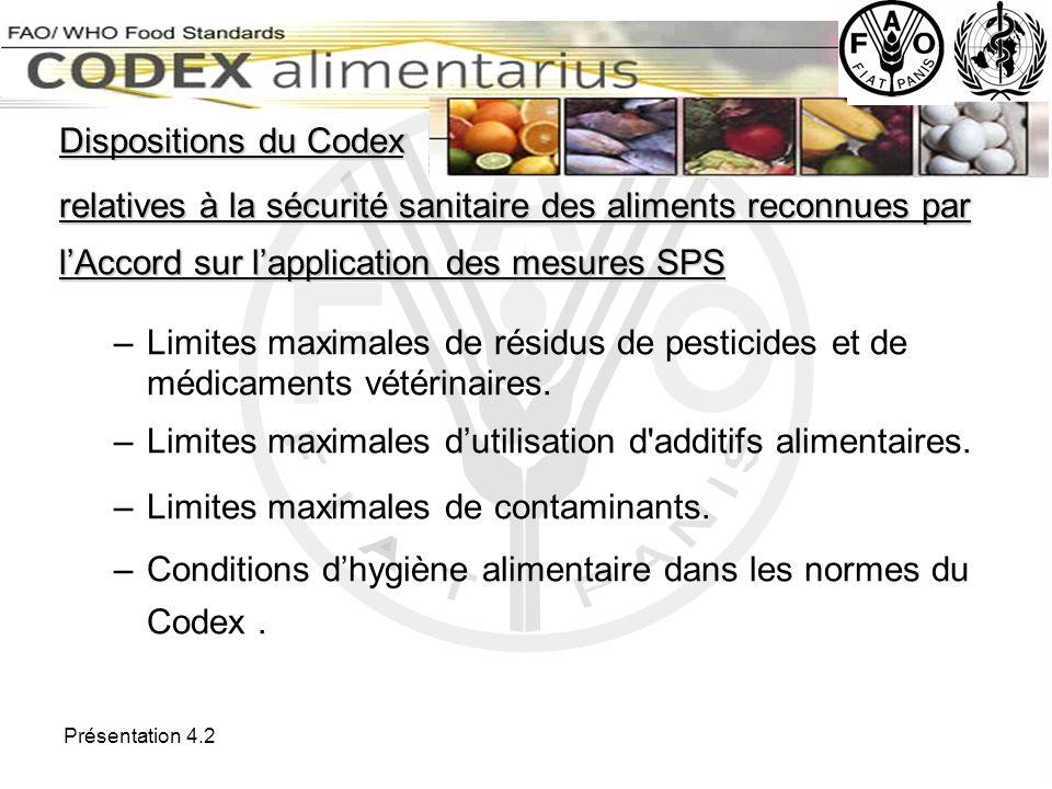 Limites maximales d'utilisation d additifs alimentaires.