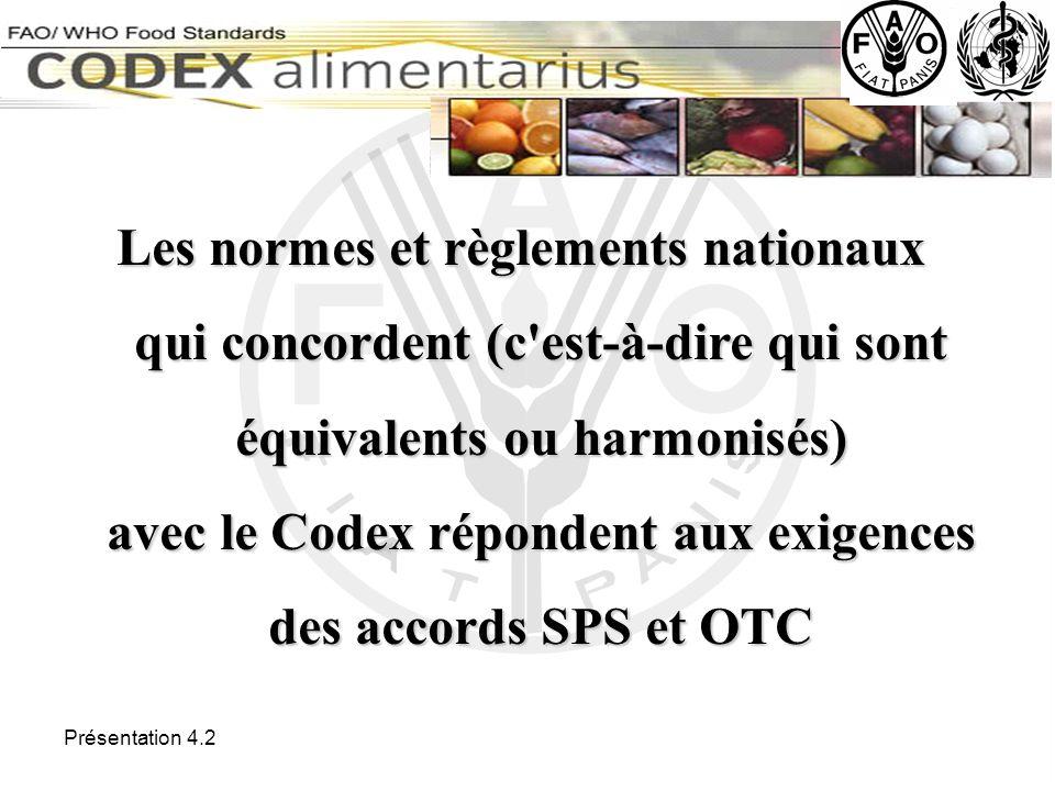 Les normes et règlements nationaux qui concordent (c est-à-dire qui sont équivalents ou harmonisés) avec le Codex répondent aux exigences des accords SPS et OTC