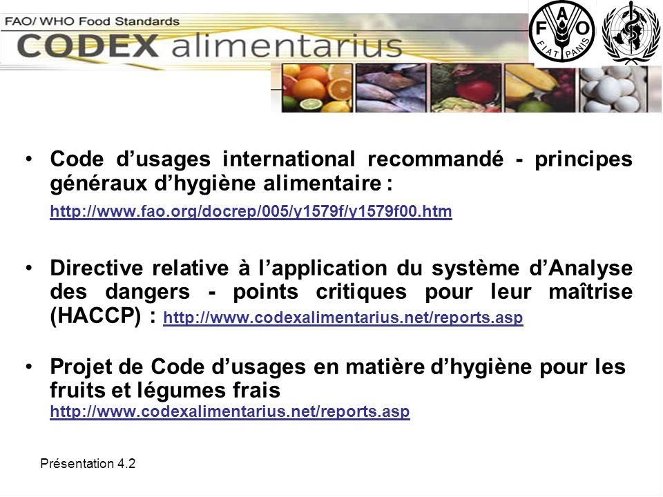 Code d'usages international recommandé - principes généraux d'hygiène alimentaire :