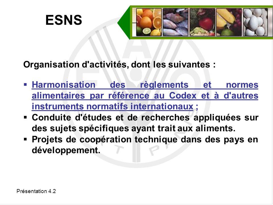 ESNS Organisation d activités, dont les suivantes :