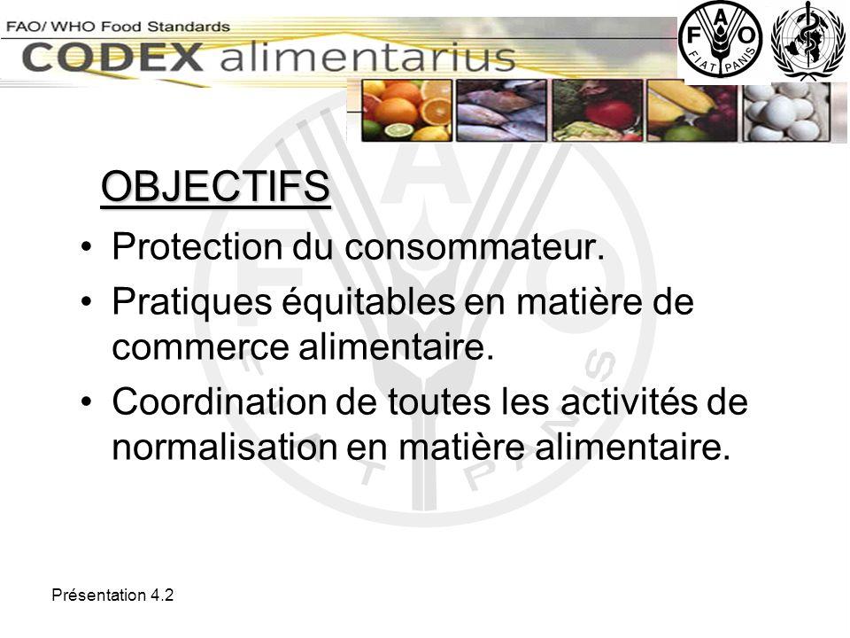 OBJECTIFS Protection du consommateur.