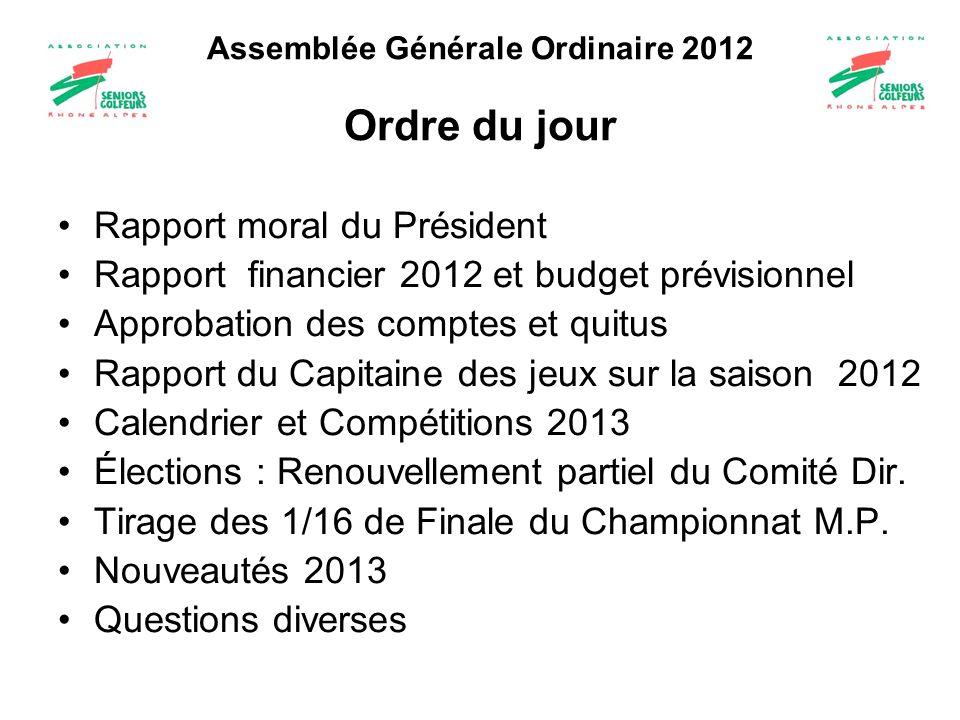 Assemblée Générale Ordinaire 2012 Ordre du jour