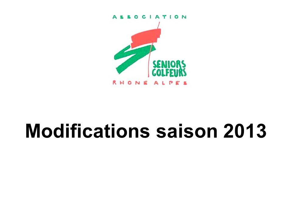 Modifications saison 2013